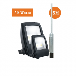 2 x 50watt LED Flood Light and 5M Root Mounted Column Package