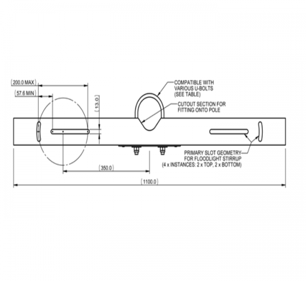 4872 Twin Flood Light Bracket For 76mm to 89mm Column Shafts