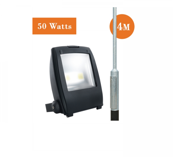 50 watt LED Flood Light and 4M Root Mounted Column Package